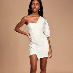 Lulus Be My Sweetheart One-Shoulder Dress White S